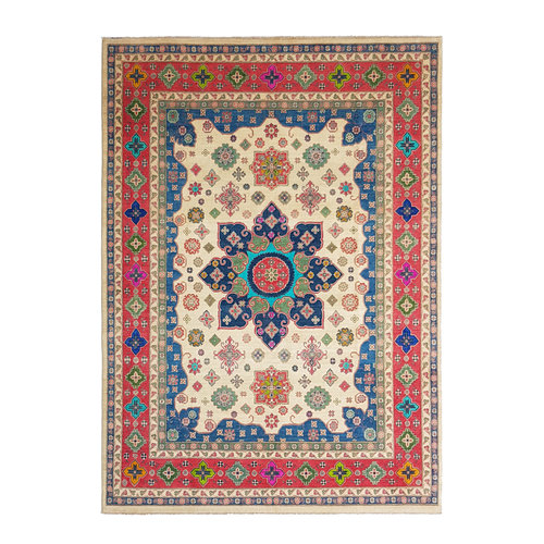shal Hand knotted  11'6x 9' wool kazak area rug  356x279 cm  Oriental carpet