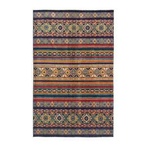 shal Hand knotted  9'8x6'  wool kazak area rug  295x193 cm   Oriental carpet
