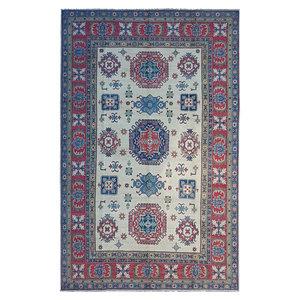 Hand knotted  9'8x6' wool kazak area rug  296x197 cm  Oriental carpet