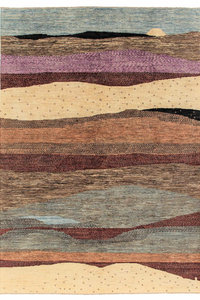 Hand knotted 9'6x6'5 Modern  Art Deco Wool Rug 294x200 cm  Abstract Carpet design75