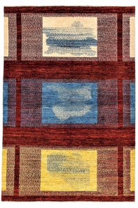 Hand knotted 9'8x6'5 Modern  Art Deco Wool Rug 301x199 cm  Abstract Carpet  Design82