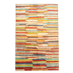 Handgeknüpft Modern Art Deco 310x195 cm Abstrakt Wolle Teppich   design multi