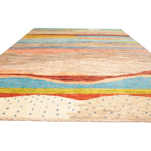 Hand knotted 9'7x6' Modern Art Deco Wool Rug Abstract Carpet gabbeh