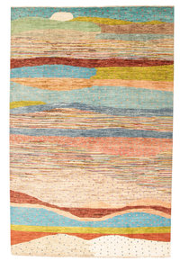 Hand knotted 9'7x6' Modern  Art Deco Wool Rug gabbeh Abstract Carpet