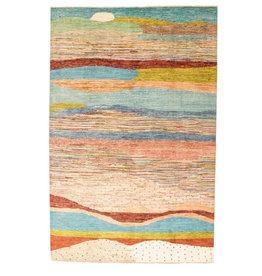 ZARGAR RUGS Hand knotted 9'7x6' Modern  Art Deco Wool Rug 298x194 cm  Abstract Carpet  design75