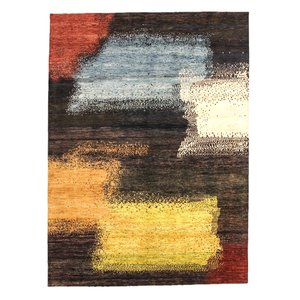 Hand knotted 9'6x6'9 Modern  Art Deco Wool Rug 294x211 cm  Abstract Carpet design18