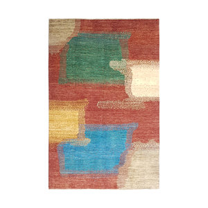 Hand knotted 9'6x6' Modern  Art Deco Wool Rug 294x197 cm  Abstract Carpet  design18