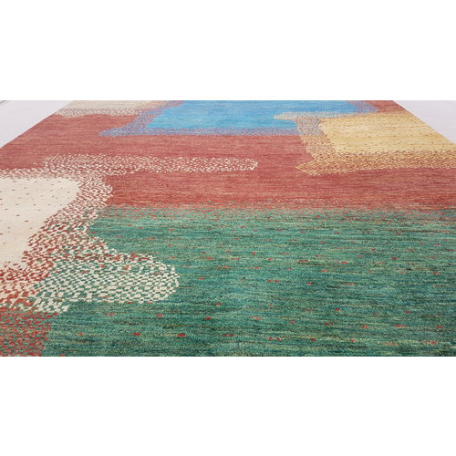Hand knotted 9'6x6' Modern  Art Deco Wool Rug 294x197 cm  Abstract Carpet