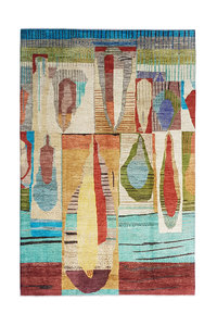 Hand knotted 9'9x6'5 Modern  Art Deco Wool Rug 304x201 cm  Abstract Carpet design79
