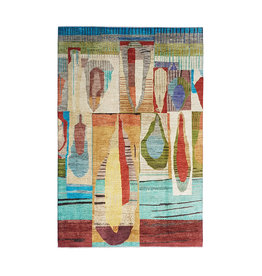 ZARGAR RUGS Hand knotted 9'9x6'5 Modern  Art Deco Wool Rug 304x201 cm  Abstract Carpet design79