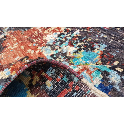 Hand knotted 9'5x6'6 Modern  Art Deco Wool Rug  Abstract Carpet