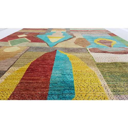 Hand knotted 9'6x6' Modern  Art Deco Wool Rug 294x198 cm  Abstract Carpet