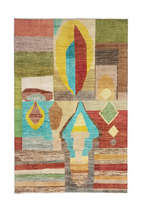 Hand knotted 9'6x6' Modern  Art Deco Wool Rug 294x198 cm  Abstract Carpet  design79