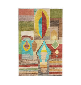 ZARGAR RUGS Hand knotted 9'6x6' Modern  Art Deco Wool Rug 294x198 cm  Abstract Carpet  design79