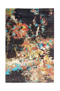 Hand knotted 9'7x6'6 Modern Art Deco Wool Rug Abstract Carpet