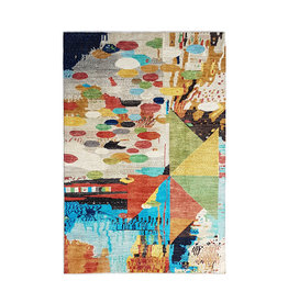ZARGAR RUGS Hand knotted 9'5x6'6 Modern  Art Deco Wool Rug 291x204 cm  Abstract Carpet design134