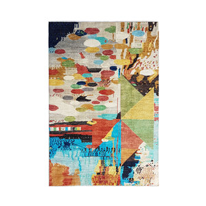 Hand knotted 9'5x6'6 Modern  Art Deco Wool Rug 291x204 cm  Abstract Carpet design134