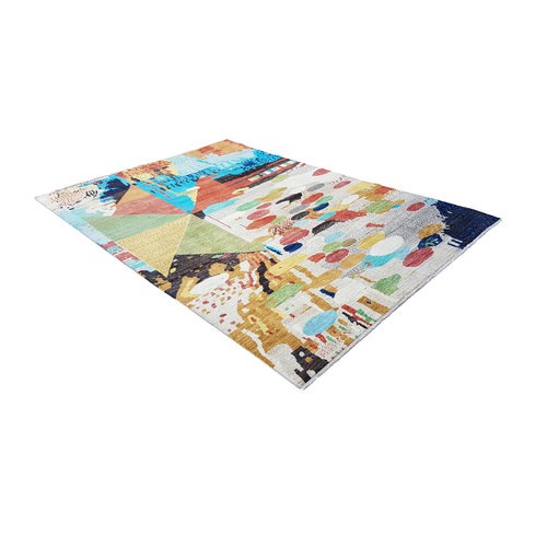 Hand knotted 9'5x6'6 Modern  Art Deco Wool Rug 291x204 cm  Abstract Carpet