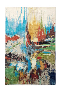 Hand knotted 9'7x6' Modern  Art Deco Wool Rug 297x195 cm  Abstract Carpet  design135