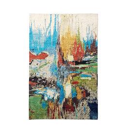 ZARGAR RUGS Handgeknüpft Modern Art Deco 297x195 cm Abstrakt Wolle Teppich  design135