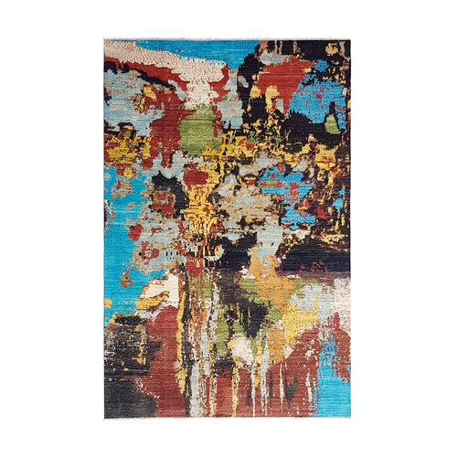 Hand knotted 9'6x6'5 Modern  Art Deco Wool Rug 293x200 cm  Abstract Carpet