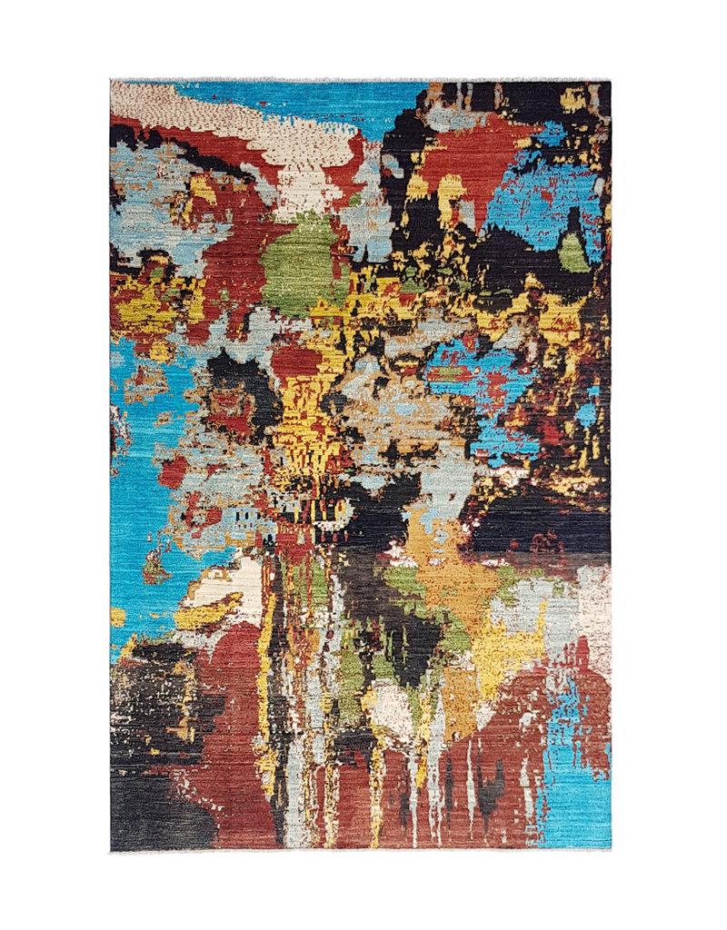 ZARGAR RUGS Handgeknüpft Modern Art Deco 293x200 cm Abstrakt Wolle Teppich