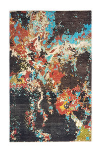 Hand knotted 10'x6'5 Modern  Art Deco Wool Rug 306x201 cm  Abstract Carpet