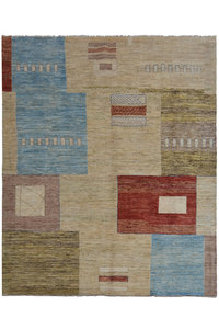 Hand knotted 9'6x6'5 Modern  Art Deco Wool Rug 293x199 cm  Abstract Carpet  design70