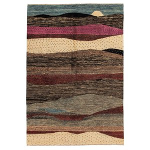 Hand knotted 9'7x6'4 Modern  Art Deco Wool Rug 296x198 cm  Abstract Carpet