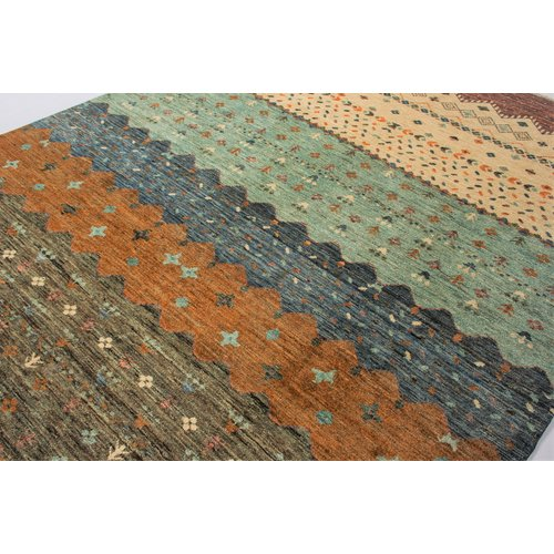 Hand knotted 9'9x6' Modern  Art Deco Wool Rug 303x195 cm  Abstract Carpet