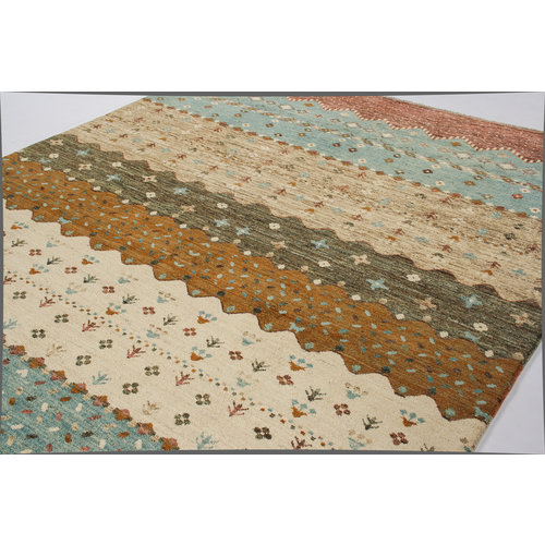 Hand knotted 9'6x6' Modern  Art Deco Wool Rug 295x198 cm  Abstract Carpet