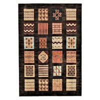 Hand knotted 9'8x6'5 Modern  Art Deco Wool Rug Gabbeh Carpet