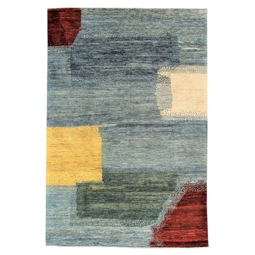Hand knotted 9'5x6' Modern  Art Deco Wool Rug 292x195 cm  Abstract Carpet