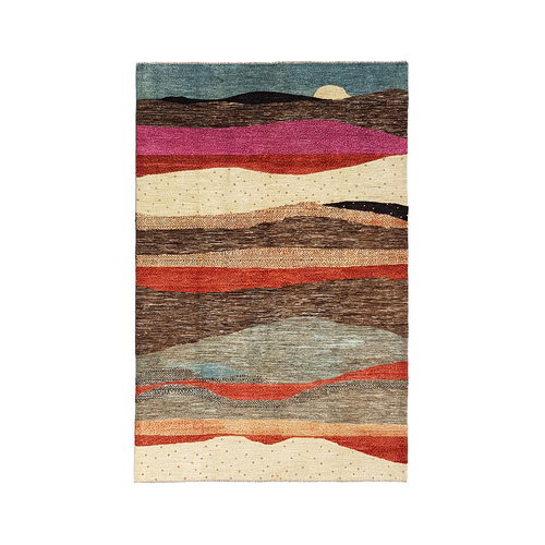 Hand knotted 9'7x6'6 Modern  Art Deco Wool Rug 298x202 cm  Abstract Carpet