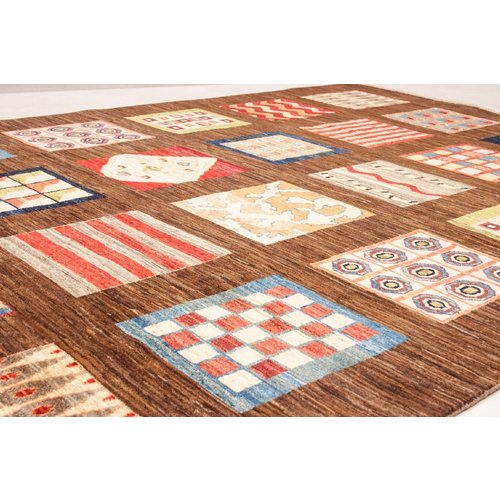 Hand knotted 9'7x6'6 Modern  Art Deco Wool Rug 297x203 cm  Abstract Carpet