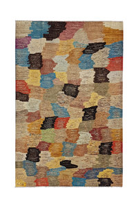 Hand knotted 9'7x6'5 Modern  Art Deco Wool Rug 297x200 cm  Abstract Carpet  multi