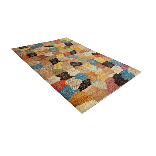Hand knotted 9'7x6'5 Modern  Art Deco Wool Rug 297x200 cm  Abstract Carpet