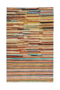 Hand knotted 10'x6' Modern  Art Deco Wool Rug 306x192 cm  Abstract Carpet   multi
