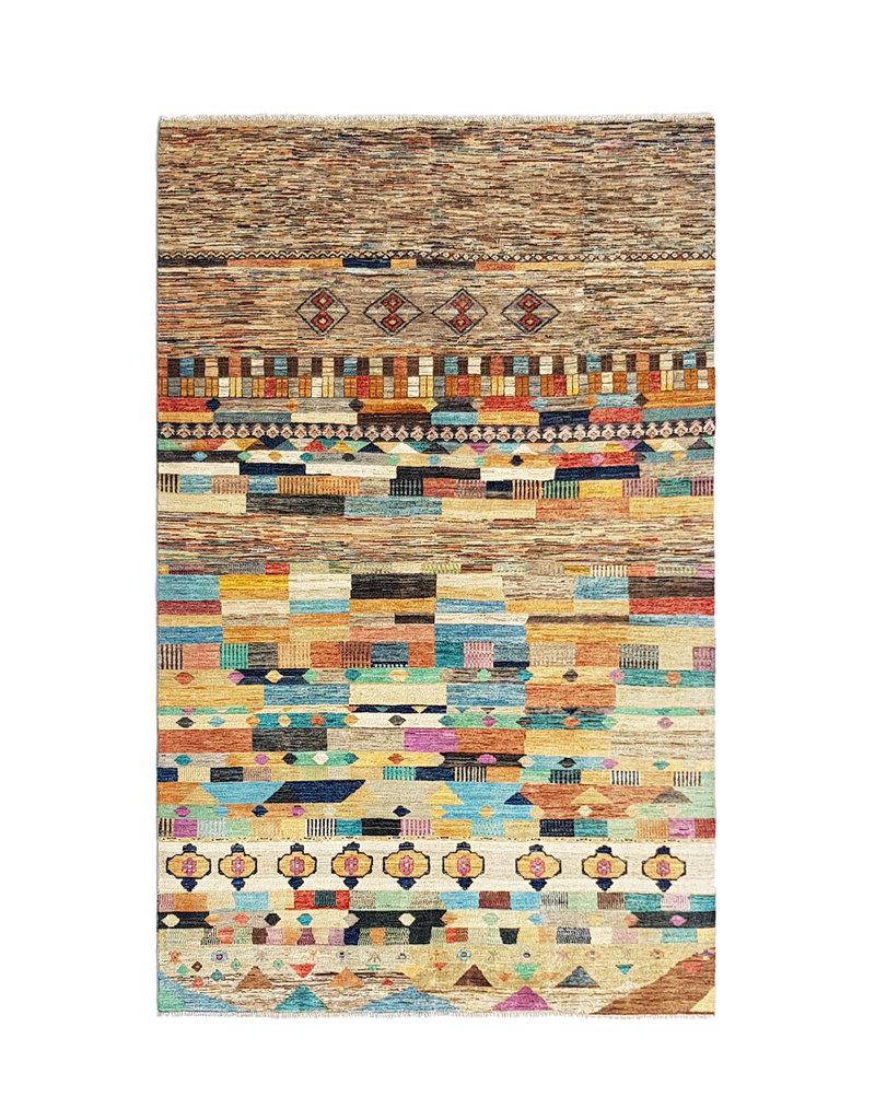 ZARGAR RUGS Handgeknüpft Modern Art Deco 294x193 cm   Abstrakt Wolle Teppich multi