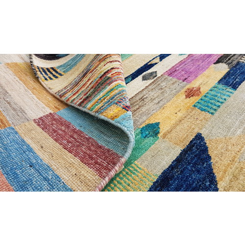 Hand knotted 9'64x6'33 Modern  Art Deco Wool Rug  294x193 cm   Abstract Carpet   multi