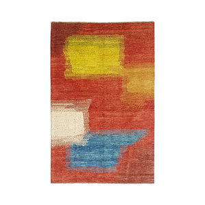 Hand knotted 9'61x6'33 Modern  Gabbeh Wool Rug Abstract Carpet multi color soft