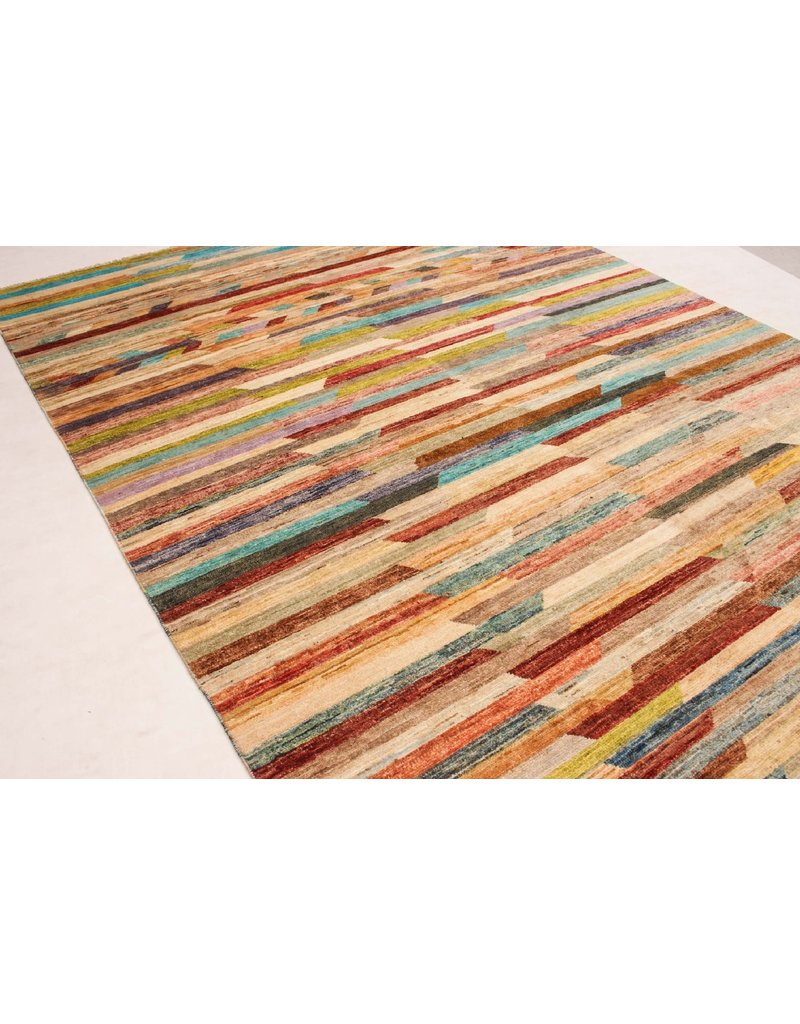 ZARGAR RUGS Handgeknüpft Modern Art Deco 294x200 cm  Abstrakt Wolle Teppich multi