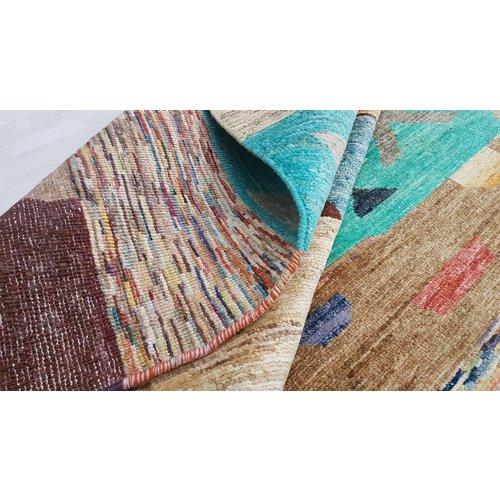 Handgeknoopt Modern Art Deco tapijt 297x197 cm  oosters kleed vloerkleed  multi