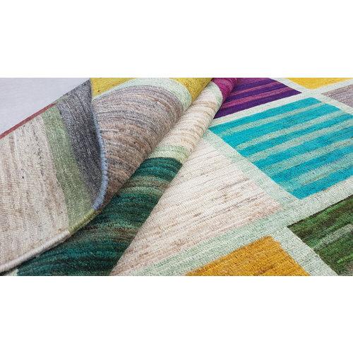 Handgeknüpft Modern Art Deco 296x203cm Abstrakt Wolle Teppich multi