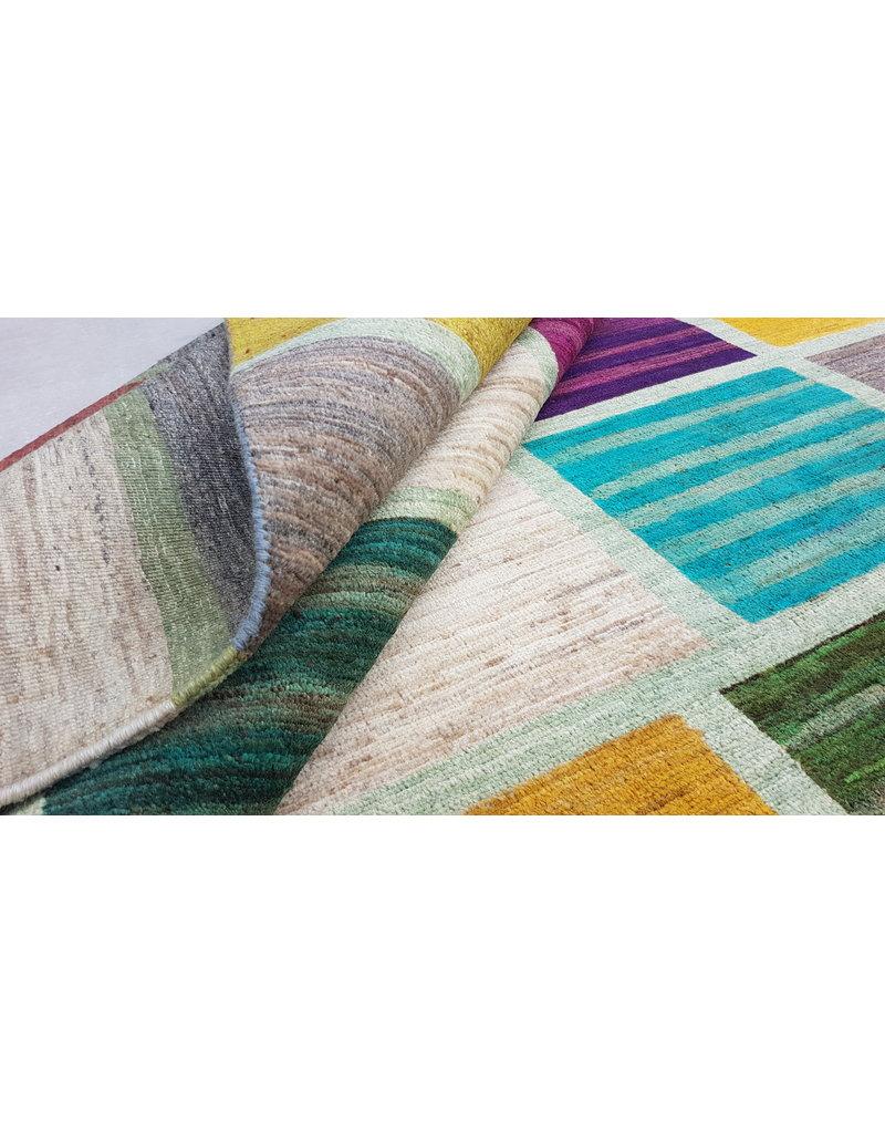 ZARGAR RUGS  Handgeknoopt Modern Art Deco tapijt 296x203cm  oosters kleed vloerkleed  multi