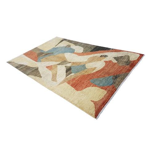 Handgeknüpft Modern Art Deco 281x179cm Abstrakt Wolle Teppich multi