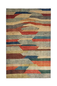 Hand knotted 8'82x6'49 Modern  Art Deco Wool Rug  296x198cm Abstract Carpet   multi