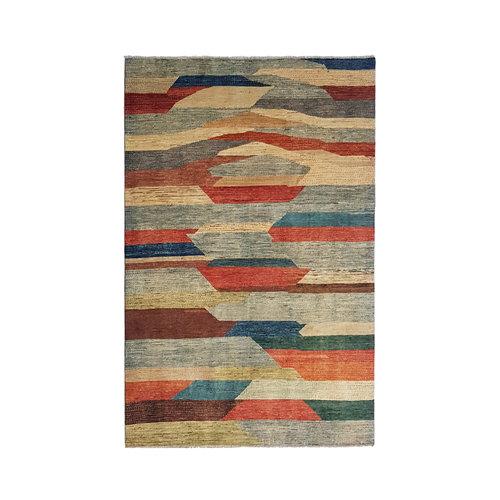 Handgeknüpft Modern Art Deco  296x198cm Abstrakt Wolle Teppich multi