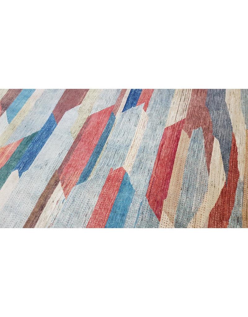 ZARGAR RUGS Handgeknüpft Modern Art Deco  296x198cm Abstrakt Wolle Teppich multi