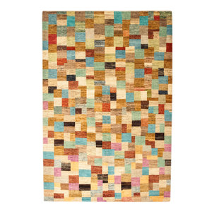 Hand knotted 10'07x6'75 Modern  Art Deco Wool Rug 307x206cm   Abstract Carpet   multi